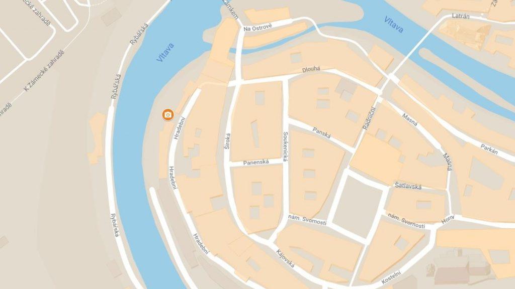 Mapa fotolokace - tajemná ulice Hradební, Český Krumlov